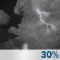 Tonight: A 30 percent chance of showers and thunderstorms, mainly after 3am. Some storms could be severe, with large hail and damaging winds.  Mostly cloudy, with a low around 63. South southwest wind 5 to 15 mph, with gusts as high as 20 mph.